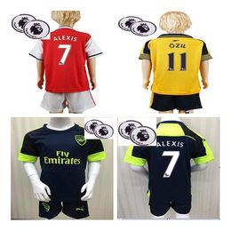Wholesale 2016 Arsenal Soccer Jerseys patches kids boys best gift kits set Away home WILSHERE OZIL WALCOTT RAMSEY ALEXIS XHAKA CECH shirt