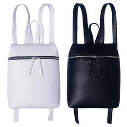 Wholesale Preppy Style Designer Womens Backpacks Mediumn White and Black Zipper PU Leather Cell Phone Pocket Bookbags