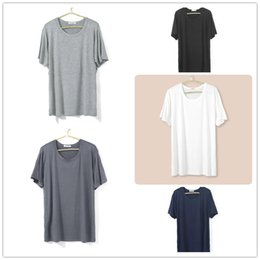 Wholesale summer bamboo fibre thin male solid color round neck short sleeve plus size loose nightshirts home top men sleepwear