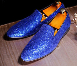 Men Fashion Shiny Glitter Casual Shoes Hot Design Men Flats Royal Blue Leather Flat Loafers Party Dress Shoes Man Size 38-44