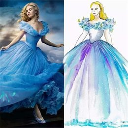Wholesale In Stock Butterfly Decoration Off The Shoulder Cinderella Cosplay Wedding Dress White Blue Movie Fancy Princess Bridal Gown