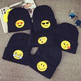 Wholesale Emoji Warm Woolen Knitted Caps Baby Kids newborn Emoticons Hats New Fashion Winter Beanies Clothes Apparel Accessories Black Color