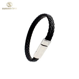 Wholesale 2016 new unisex black pu leather bracelet women and men length cm quot jewellery wristband best seller