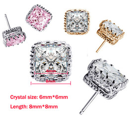 Band New square Crown Wedding Stud Earring 2016 New 925 Sterling Silver CZ Simulated Diamonds Engagement Beautiful Jewelry Crystal Ear Rings