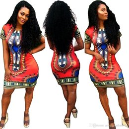 Wholesale 2016 pieces Women Boho Dashiki Dresses Long Shirt African Cocktail Clubwear Short Mini Skirt