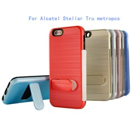 Wholesale For Alcatel Stellar Tru metropcs For zte zmax pro z981 MetroPCS Dual Layer Polish Brushed Metal Hybrid Armor Kickstand Case credit card slot