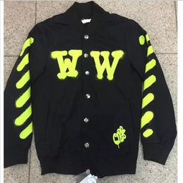 Wholesale 2016ss new brand off white virgil abloh Graffiti Printing striped varsity jacket men hiphop thin Baseball jacket couple coats S XL