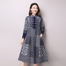 2016 Spring New Plus Size Women Folk Style Long-sleeved Stand Collar Cotton and Linen Printed Dress Vintage Dress Vestidos 9831