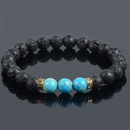 Wholesale New Products turquoise Lava Stone Beads Natural Stone Bracelet for Men Jewelry of Stretch Yoga Bracelet