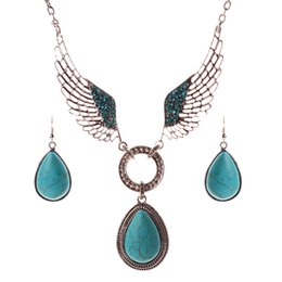 Wholesale 2016 Hot Selling European and American Vintage Set Auger Jewelry Set Wings Pattern Turquoise Water Droplets Pendant Necklace Earring Suit