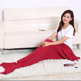 7 colors drop shipping mermaid throw blanket fish scale mackerel scale solid color mermaid tail blanket for spring autumn adults