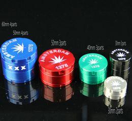 60mm 4parts Smoking grinder Herb grinders tobacco grinders Amsterdam Metal grinder CNC grinder mix colors for smoking pipe