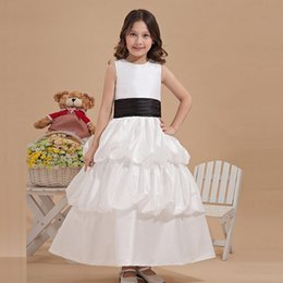 2016 Summer Collection White Ankle Length Flower Dress Girl With Sash Professional Design Custom Made European Style