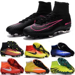 Original Mercurial Superfly FG CR7 Football Soccer Shoes Hypervenom Phantom Boys Youth Soccer cleats Neymar High Ankle kids Football Boots