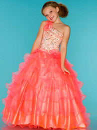 2016 New Spring Wonderful Coral Girl's Pageant Dresses One-shoulder Sequins Beading Ball Gown Birthday Wedding Kids Flower Dresses