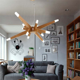 Wholesale Modern Art Brief Agnes Chandeliers Branch Agnes Suspension Lights China Ash Wooden Starry Sky Light Fitting