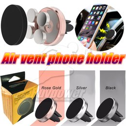 Wholesale Magnetic Magent Car Phone Holder Aluminum Alloy Air Vent Mini Mount Stand For IPhone plus Samsung s7 S7 Edge Galaxy Note7 Bracket