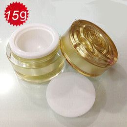 15G Gold color empty plastic cosmetic container ,0.5oz plastic cream jar with flower lid,empty 15g Cosmetic Jar wholesale