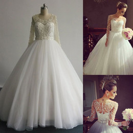 Real Images 2016 Ball Gown Wedding Dresses with Lace Long Sleeves and Exquisite Beading Court Train Tulle Bridal Gowns