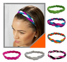Wholesale Mix colors Colorful Braided Mini Sports Headbands Woman Girl Soft Nylon Silicone headband keep the elasticit band for athletes N200