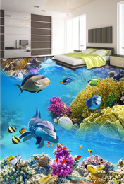 Wholesale 3d pvc flooring custom photo wallpaper wall sticker beautiful sea world dolphin decoration painting picture d wall room murals wallpaper