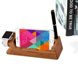 Wholesale Fashion Cell Phone Mounts Tablet PC Holders Stands Desktop Storage Multi Function Practical Bamboo for Mobile and Tablet Pc zj013