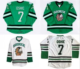 Wholesale North Dakota Fighting Sioux Hockey Jersey TJ Oshie Green University Throwback Stitched Jerseys Custom Name And Number