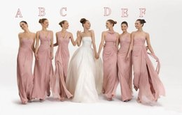 Wholesale Sweetheart Ruffle Long Prom Dress - Six Different Styles Bridesmaid Dresses Chiffon Long Maid of Honor Gown A-line Custom Color Evening Party Dresses Floor Length Prom Gowns BM