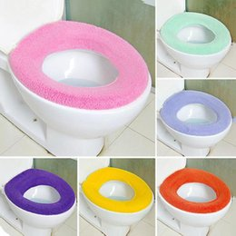 Wholesale 2016 New Toilet Seat Cover Bathroom Warmer Soft Cloth Washable Pads Soft Comfortable Toilet Mat colour mixture