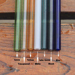 Wholesale borosilicate glass straw colorful glass straw drinking straw reusable washable use for Hot or Cold Drinks Baby Health Straw