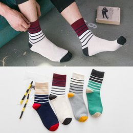 Wholesale mens socks Autumn multicolor striped socks combed cotton men in tube socks fee shipping us size US