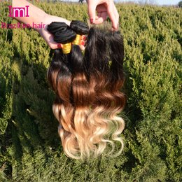 Good Quality 3 Tone Brazilian Virgin Ombre Hair With Closure Virgin Ombre Brazillian Body Wave With Closure 3 Bundles Lot