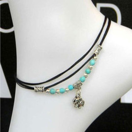 Sexy Lady Tibetan Sliver Plated Fake Turquoise Beads Elephant Pendant Anklet Designs Foot Chain Leather ankle bracelets for Women jewellery
