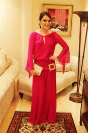 Wholesale Elegant Bell Sleeves Long Sleeve Rose Chiffon Prom Dress Sexy Open Back Floor Length Metal Belt Evening Dress