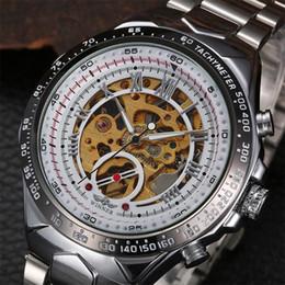 Luxury Winner Men Black White Titanium Automatic Skeleton Sports Wristwatch Fashion Brand Chronograph Stainless Steel Mechanical Watches