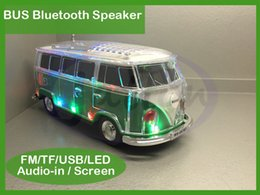 Wholesale 2016 New Bus Bluetooth Speaker WS BT with coloful LED MP3 Player Support led light FM TF USB drive Aux in DHL free
