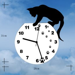Wholesale Home Decor DIY Mirrors Surface Wall Clocks Round Circle CAT Digital Modern Design D Watch Wall Clocks