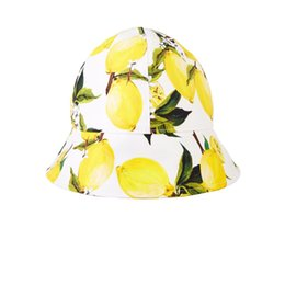 Wholesale Wl Monsoon Princess Girls Lemon Print Sun Hat Visor Designer Summer Beach Hats For Toddler Baby Girls Kids Beanie
