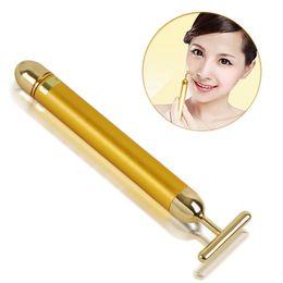 24K Gold Facial Roller Massage Body Skin Face Care Wrinkle Treatment Energy Waterproof T Beauty Bar Massager Stick Vibration