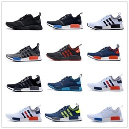 Wholesale 2016 Best Quality NMD Runner Primeknit Discount Sales White Red Blue NMD Runner Sports Shoes Men Woman NMD Running Boost with Box Free Ship