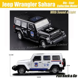 1:32 Scale Diecast Alloy Metal ForPolice Car Model For Jeep Wrangler Sahara Collection Off-road Model Toys Car - Black   White