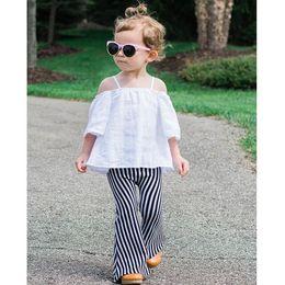 Wholesale Hug Me Kids Pants for Girls New Children s Clothes Fashion Bell Bell Bottoms Stripe Girls Tassels Long Pants MK