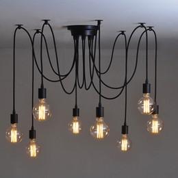 Wholesale Mordern Nordic Retro Edison Bulb Light Chandelier Vintage Loft Antique Adjustable DIY E27 Art Spider Ceiling Lamp Fixture Light