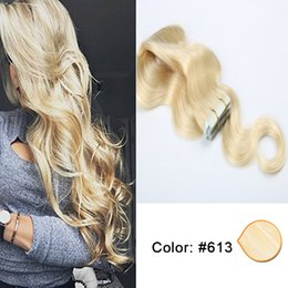PU Skin Weft Tape In Brazilian Virgin Remy Human Hair Cheap 20 Pcs Body Wave Hair Extension 50g 16-26 Inch #613 Blonde Color Free Shipping