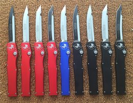 Wholesale 12 styles Microtech Halo V S E T E Single action Knife quot D2 steel Satin Black finish Plain Drop Tanto
