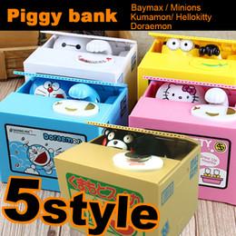 Wholesale Zorn toy Piggy Bank Minions Doraemon Kumamon hellokitty Baymax Cat Eating coin Electric Coin Bank Money Saving Box Eating money pot kids toy