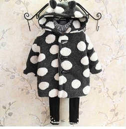 Wholesale Super Cute Coats - The new winter clothes 2016 Korean boys and girls super cute Wool Coat Button dot free shipping