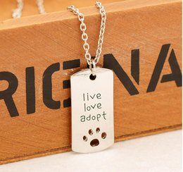 Wholesale antique silver new Rectangular Dog Tag Style Pendant Necklace Cat Dogs quot live love adopt quot Pet Rescue Paw Print Tag