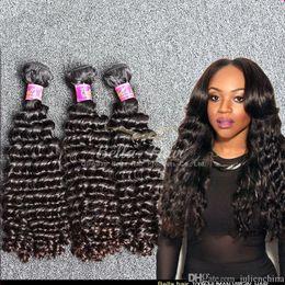 Natural Black Deep Wave Human Hair Weave Mixed Lengths 8~30 inch Brazilian Hair Bundles 3PCS Lot Bella Hair Extensions