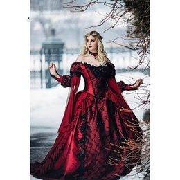 Wholesale Gothic Sleeping Beauty Princess Medieval Red and Black Ball Gown Wedding Dress Long Sleeve Lace Appliques Victorian Bridal Gowns